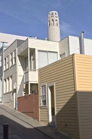 coit: San Francisco neighborhood near Coit tower California. Stock Photo