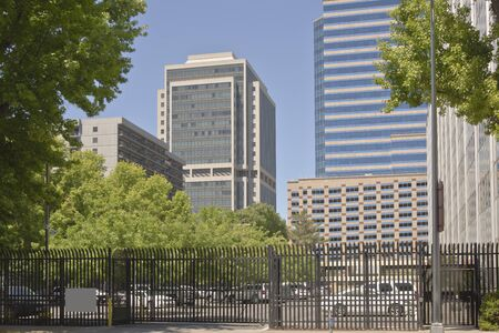 gated: High rise buildings and architecture in downtown Sacramento California. Stock Photo