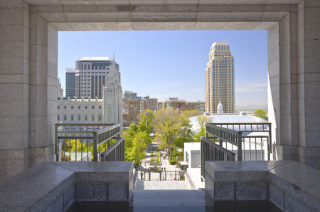 salt lake city: View of salt Lake city Utah through a marble opening. Stock Photo