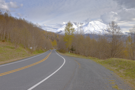 helens: Country road and Mt. St. Helens, in Washington state.