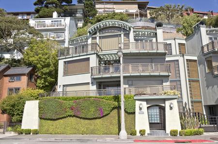 Sausalito California neighborhood on a hillside. Stock Photo
