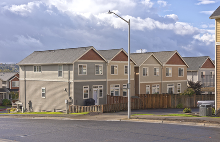 backroad: Family homes in a row in Gresham Oregon.