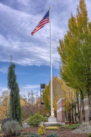 willamette: Old Glory waving in the in the Willamette national cemetery Oregon.