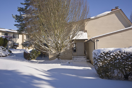 guest house: Guest house and snow covered ground Gresham Oregon.