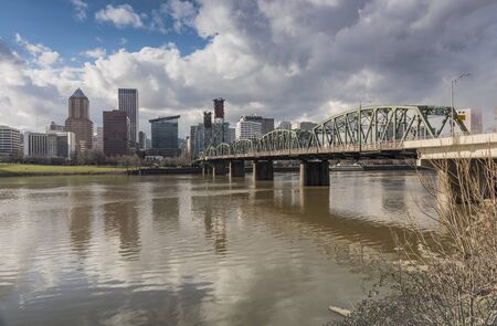 Portland Oregon skyline river and bridge.