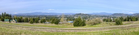 Public park trail panorama and fence from Powell Butte in Portland Oregon.