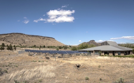 Solar panels and tribal building in Warm Springs Oregon.