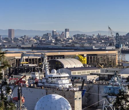 Shipyards drydock repairs and the Portland Skyline Oregon.