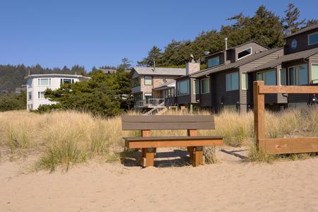 Canon beach houses on the Oregon coast. Stock Photo
