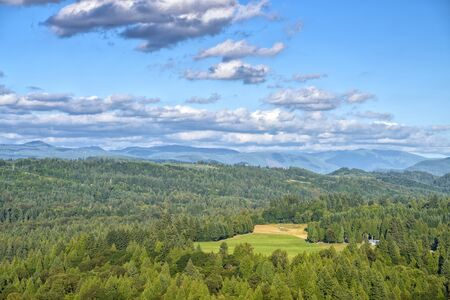 Jonsrud viewpoint forests and the Sandy river landscape panorama Oregon state.