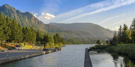 Bridge of the gods in Stevenson and the Columbia Gorge Oregon panorama.