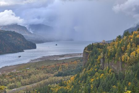 Showers and changing weather in the Columbia Gorge Oregon.