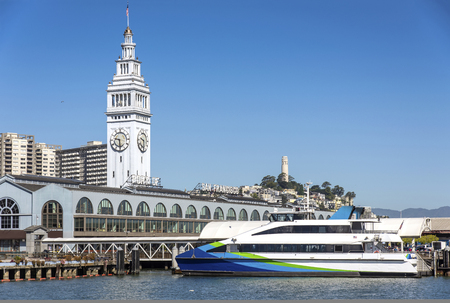 Ferry at the Port of san Francisco terminal California. Editorial