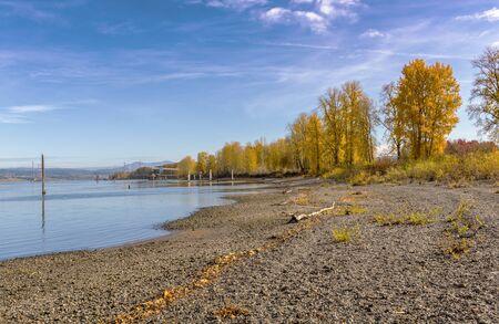 Autumn colors in a landscape Troutdale Oregon state.