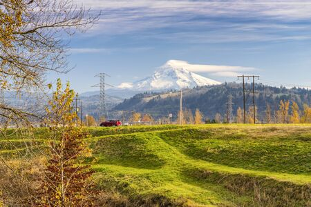 Autumn colors in a landscape with Mt. Hood Oregon state.