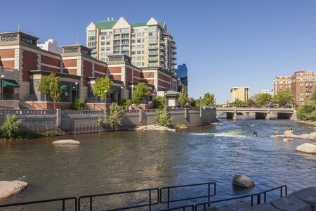Reno Nevada downton and pedestrian riverfront. Stock Photo