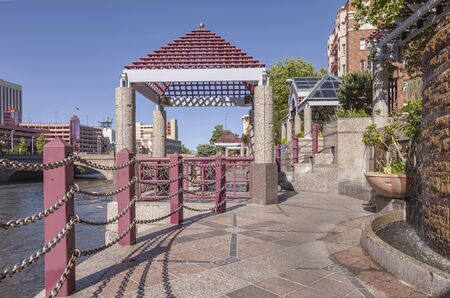 Reno Nevada downton river and pedestrian riverfront. Stock Photo