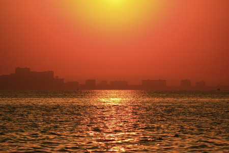 wavely: red sky Stock Photo