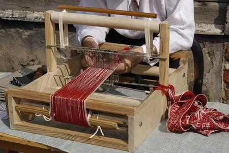 loom:  old fashioned loom  Stock Photo