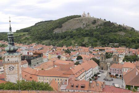 czech culture: View of Mikulov (Nikolsburg) from  hill. (Moravian Region, Czech Republic)