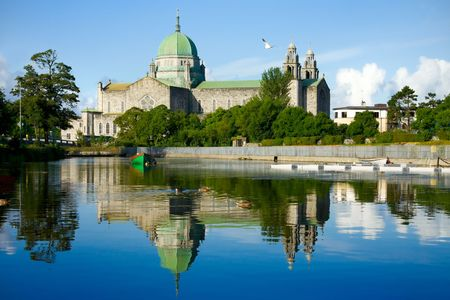 assumed: Galway Cathedral Morning Vew From The River Stock Photo