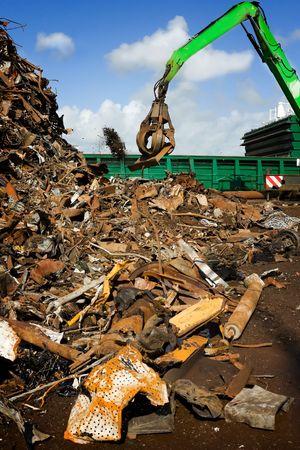 grabber: crane grabber loading a recycling metal Stock Photo