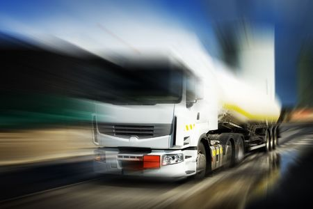 Truck With Fuel Tank in motion photo