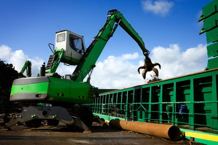 crane grabber loading a recycling metal Stock Photo