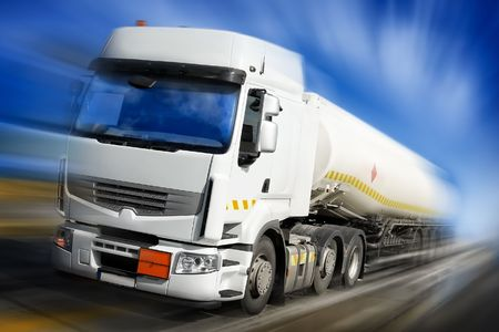 fuels: speeding truck with fuel tank illustration