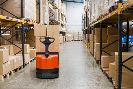 Industrial Warehouse And Forklift Stock Photo