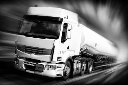 commercial docks: speeding truck black and white illustration