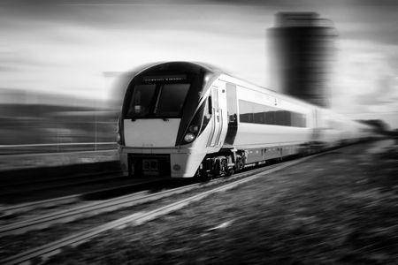 speding train black and white