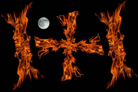 mistic: cross fire flame with full moon isolated on black background,collage