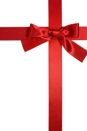 croix rouge: ruban de la Croix rouge verticale avec bow isol� sur fond blanc