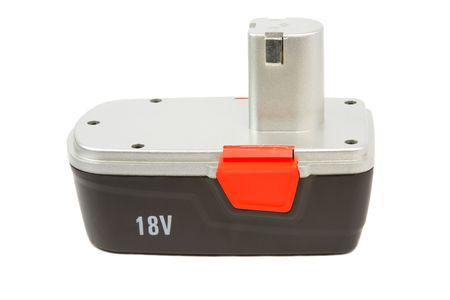 constraction: 18 v rechargeble battery for cordless hammer drill, isolated