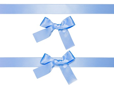 light blue multiple ribbons with bow isolated on white