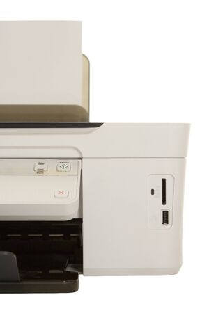 color printer with usb port and slot for compact memory cards isolated on white background Stock Photo - 7711828