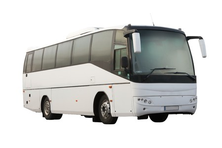 Touring: biaÅ'y autobus pasażerski na biaÅ'ym tle Zdjęcie Seryjne