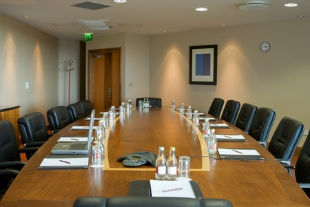 conference hall Inter with table, raw of chairs and block-notes  Stock Photo - 8363574