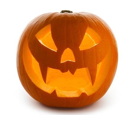 dynia: Halloween Pumpkin, Scary Jack OLantern isolated on white