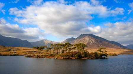 connemara: Beautiful Landscape with mountains and sky reflected in lake, Connemara, Ireland