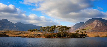 Beautiful Landscape with mountains and sky reflected in lake, Connemara, Ireland