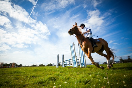 ATHENRY - JULY 3: Man riding with Horse  at annual Athenry Agricultural Show  on July 3, 2011 in Athenry, Ireland.