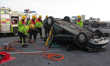 GALWAY-MARCH 9: Galway Fire and Rescue emergency Units at car crash training on March 9, 2011 in Galway, Ireland. Editorial