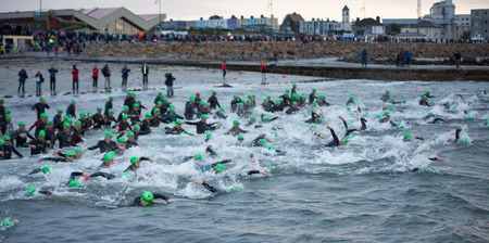 GALWAY - SEPTEMBER 4: Athletes start at first Edition of Galway Iron Man Triathlon on September 4, 2011 in Galway, Ireland Stock Photo - 10559259