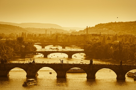 View at The Charles Bridge  and Vltava river in Prague, autumn