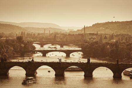 View at The Charles Bridge  and Vltava river in Prague, autumn Stock Photo - 10985824