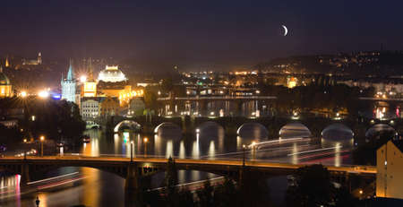 View at The Charles Bridge  and Vltava river, Prague in the dusk Stock Photo - 10985821