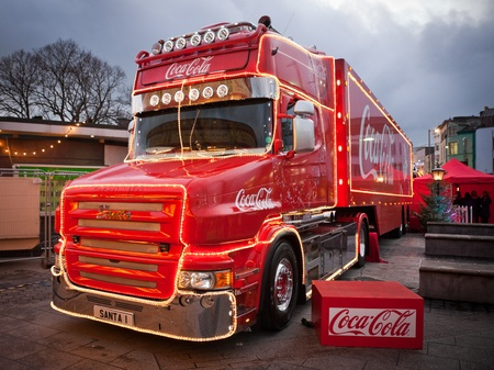 GALWAY - NOVEMBER 27: Coca-Cola iconic Christmas truck at Holidays are coming advert at Annual Galway Continental Christmas Market  on November 27, 2011 in Galway, Ireland.