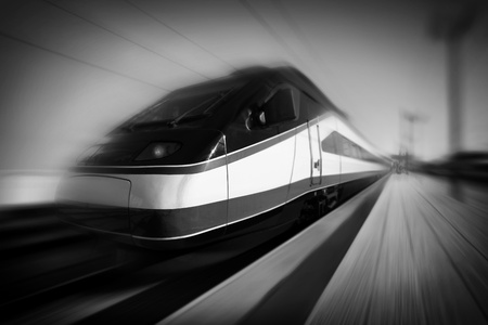 High-speed modern intercity train with motion blur